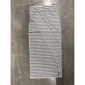 Forever 21 black white stripe maxi skirt mini